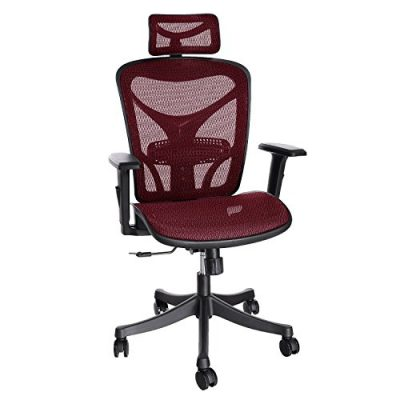 ANCHEER Ergonomic Office Chair, High Back Mesh Office Chair with Adjustable Lumbar Support,Armrest and Headrest Red