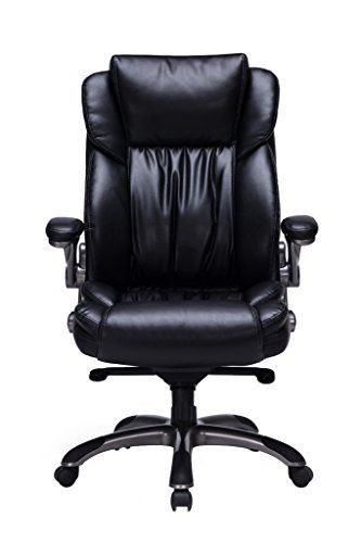 Bonded Leather Executive Chair High Back with Flip-Up Arms