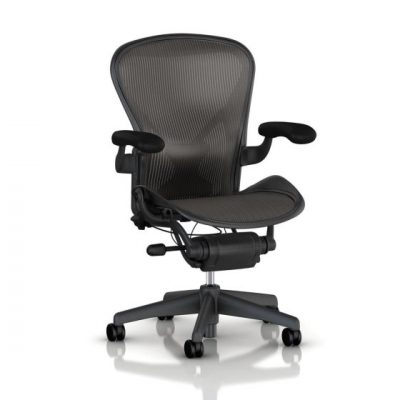 Herman Miller Aeron Tilt Limiter Task Chair, Adjustable Vinyl Arms, Graphite Frame / Carbon Classic Pellicle