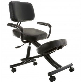 Sierra Comfort SC-350 Ergonomic Silver Frame Black Leather Kneeling Chair